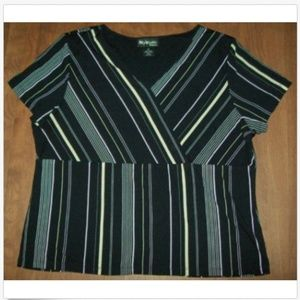 womens black stripe blouse surplice neckline